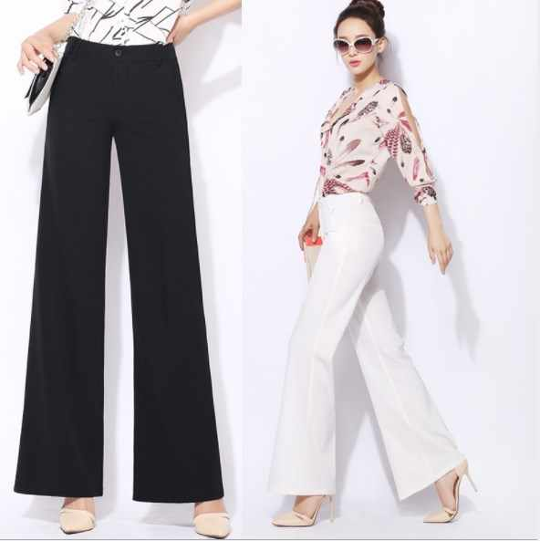 Plus Size Lady Wide Leg High Waist Pants Solid Black White Palazzo Pants Ol Style Office Wear Casual Trousers Women