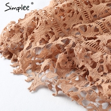 Simplee Padded hollow out lace dress Lined summer dress 2017 women dress shirt Zipper party sundress vestido de festa