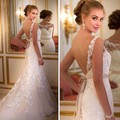 Sexy Mermaid Wedding Dresses  Lace vestidos de noiva 2016 Open Back Ivory Bridal Gowns  With Sash