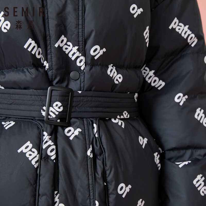 SEMIR المرأة طويلة طباعة مقنعين أسفل سترة مع جيب الرمز البريدي و المفاجئة إغلاق أسفل ملء مبطن سترة بقبعة مشبك حزام في الخصر