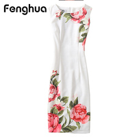 Fenghua Summer Dress For Women 2017 Sexy Slim Floral Vintage Ladies Office Dress Elegant Party Dresses