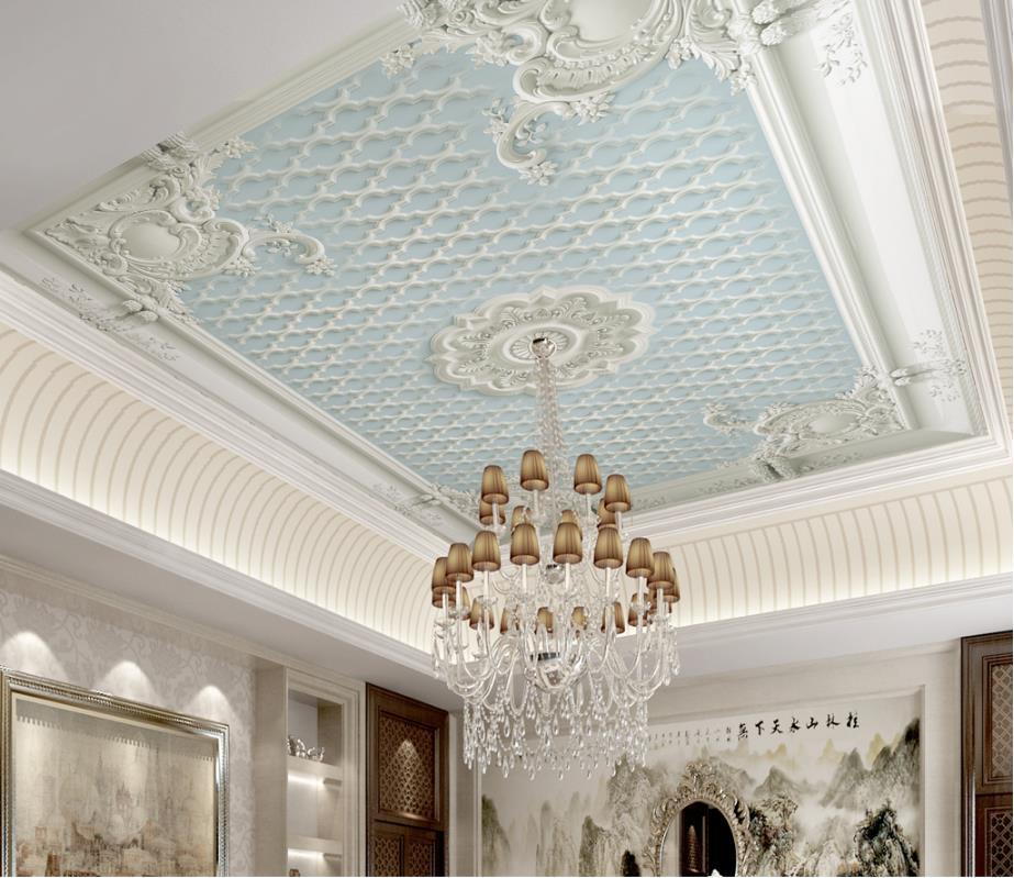 US $12.0 60% OFF|custom 3d ceiling wallpaper Plaster embossed pattern  wallpaper for bedroom walls 3d wallpaper for ceiling marble wallpaper-in ...