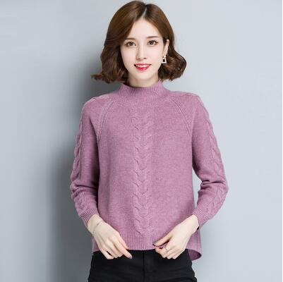 2018 Sweater female short design pullover loose plus size turtleneck sweater cashmere sweater thickening basic