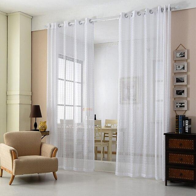 A buon mercato Tende Bianche Solido Bianco Tulle Tende Moderne per ...