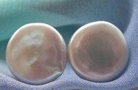 Miss Charm 0000314 WOW AAA Huge 15mm Gray Coin Freshwater PEARL Stud Earring 14K