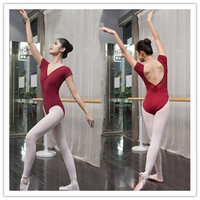Ballet Leotard For Women Cotton Short Sleeve Lace Ballet Dancing Costume Professional Adult Gymnastics Leotard