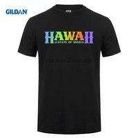 GILDAN % 100% pamuk o-boyun özel baskılı T gömlek Hawaii t-shirt Ben Serin Hawaii Gökkuşağı Tee