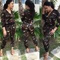 Estilo camuflaje Ocasional 2 Unidades Set Mujeres 2016 Nueva Moda Otoño Invierno Del O-cuello de la Cremallera Bolsillos S-XL Plus Size Chándal SJ196