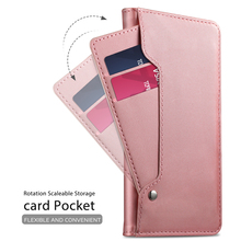 PU Leather Case for OnePlus 7 Pro Wallet Case with Mirror and Credit Card Slots Kickstand Fundas Capa for Oneplus 7 Flip Cover