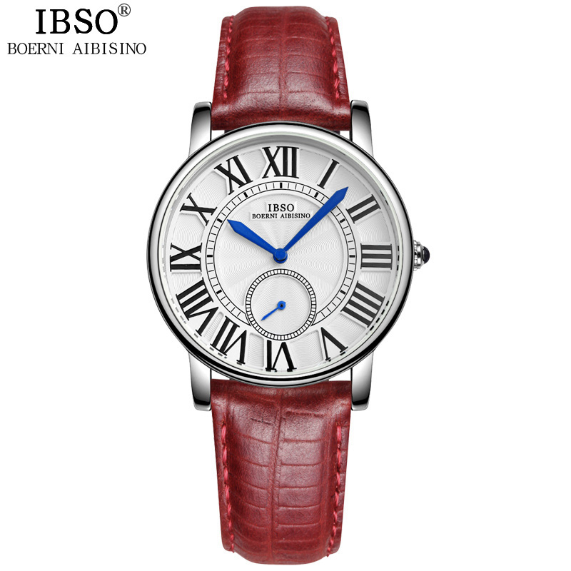 ФОТО  IBSO Top Brand Red Fashion Women Watches 2017 Genuine Leather Strap Quartz Watch Women Relojes Mujer Waterproof Montre Femme