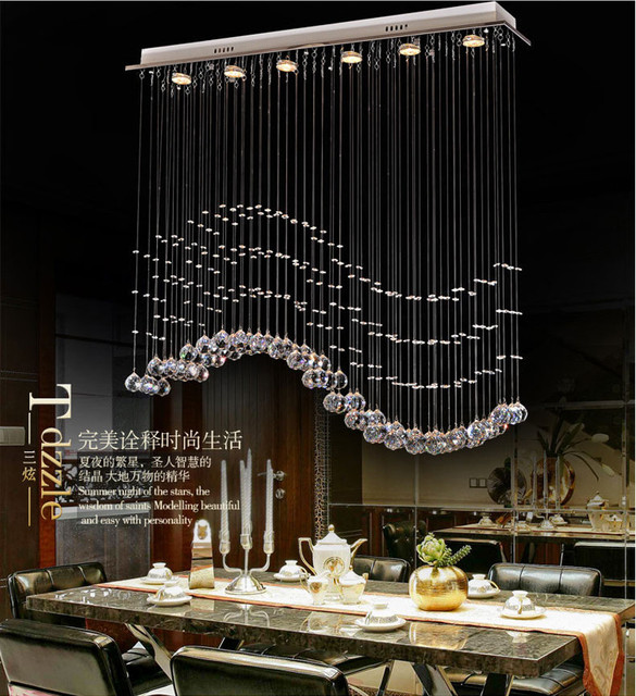 2017 New Long Restaurant Hanging Crystal Chandelier For Dining Room Home Decorative Modern Kitchen Chandeliers