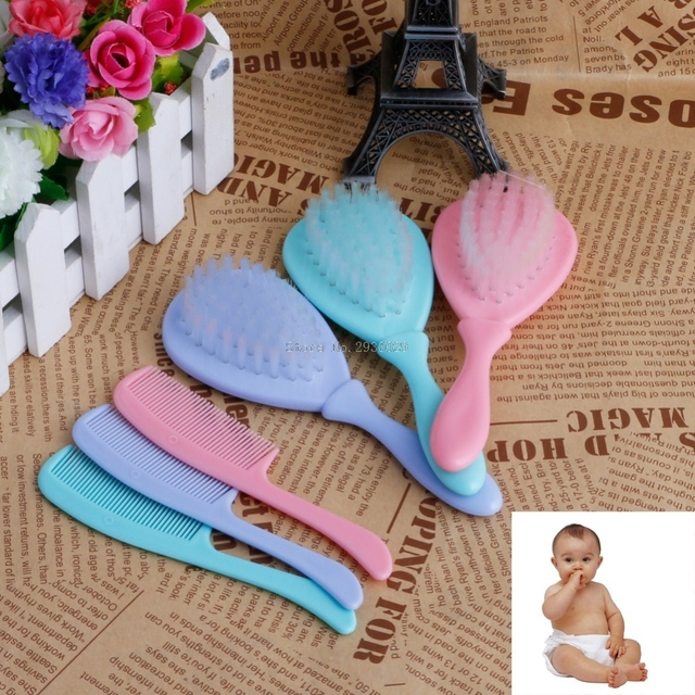 2Pcs/Set Safety Soft Baby Hair Brush Infant Comb Grooming Shower Design Pack Kit -B116