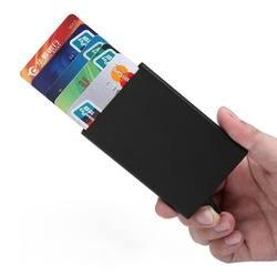 Новая автоматическая Silde Алюминий ID денежных средств держатель для карт Для мужчин Бизнес RFID Блокировка Кошелек с протекторами для