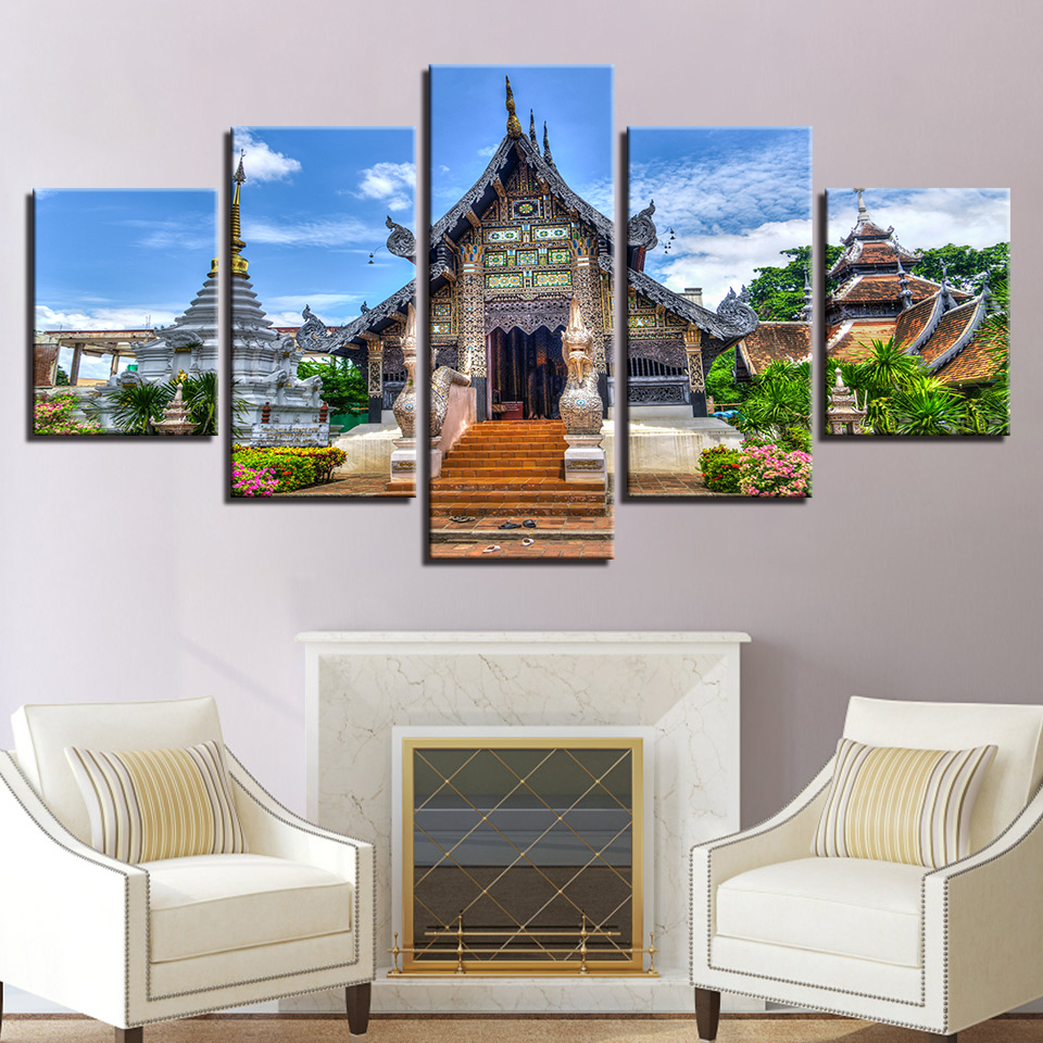 Home Decor Modular Poster Living Room Painting Wall Art 5 Panel Old Temple Landscape HD Printed Modern Canvas Frame Pictures