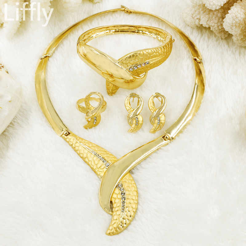 2017 African fashion new golden plated long jewelry set bride wedding party crystal necklace earrings ring jewelry set
