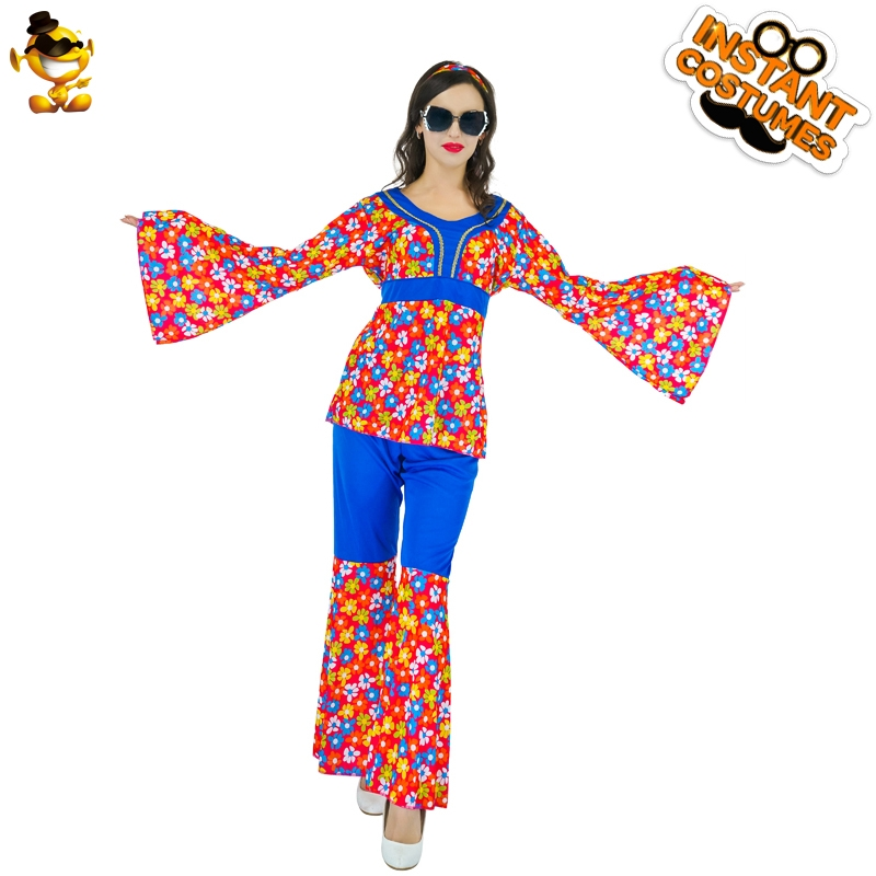 DSPLAY Women Roleplay Flowers Hippie Fancy Dress Carnival  Outfits Newly Design Sexy Woman Cosplay Party Costume