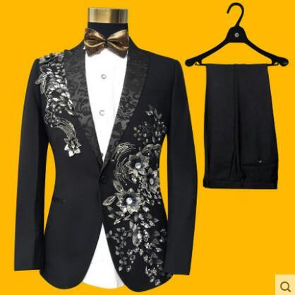 Plus Size S-4xl Black Stereoscopic Embroidered Characteristic Men Suit Set Bar Nightclub Male Singer Costume  Slim Stage Wear