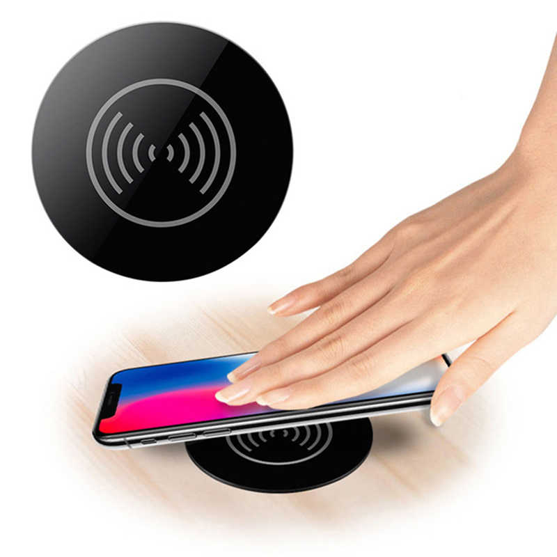 Cargador inalámbrico Qi para Iphone 8 X Xr Xs Samsung S9 S8 Note 8 9 Muebles escritorio montado carga rápida Pad