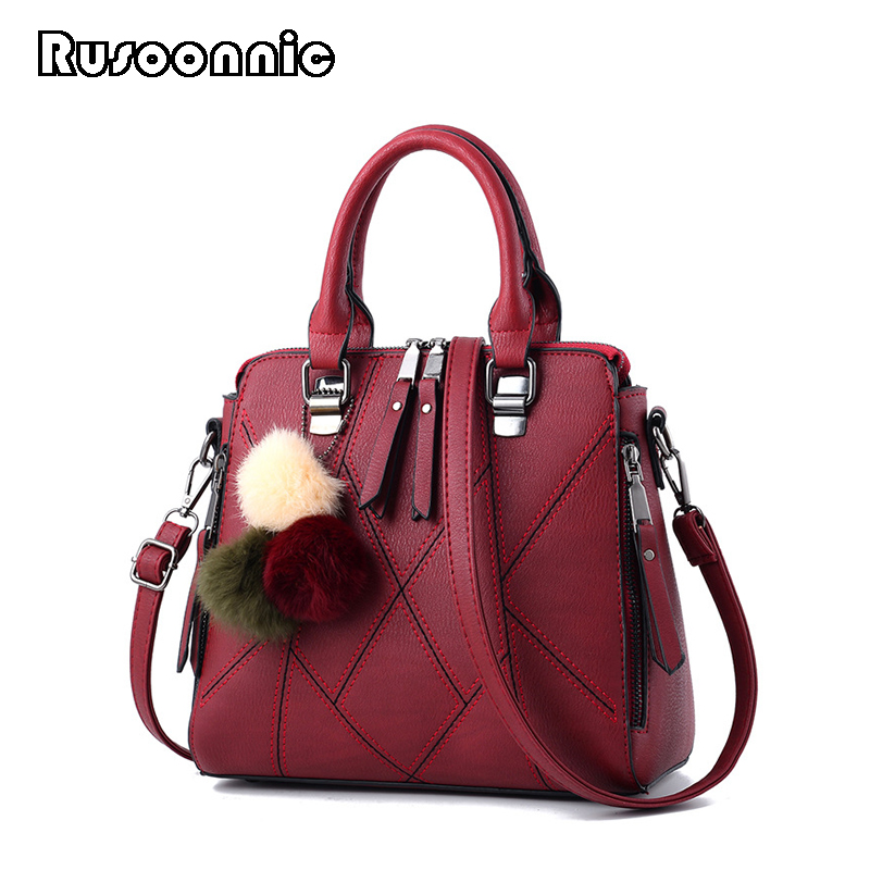Rusoonnic Women Shoulder Bag High Quality Leather Handbag Cute Girl Messenger Bags Ladies Hand Bag Feminina Bolsas Female Bolsa ursfur 2017 high quality patent leather women bag ladies cross body messenger shoulder bag handbag famous brands bolsa feminina