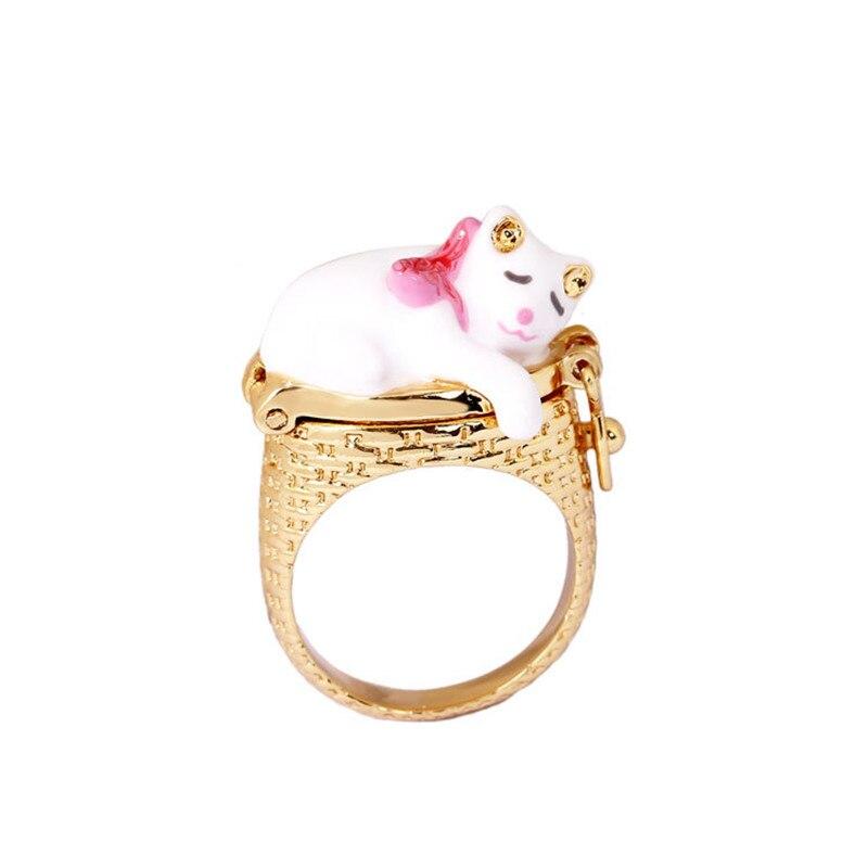 все цены на France Fresh Jewelry Enamel Glaze Trendy Kitty Series Fun Cat Embrace Creative Clamshell For Women Ring