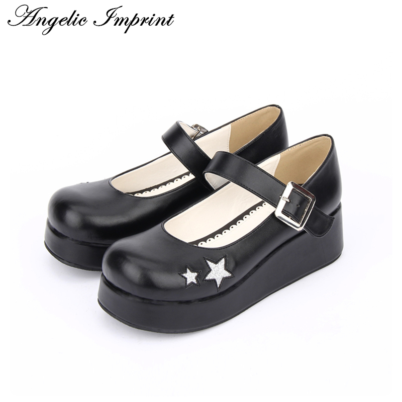 Japanese Harajuku Smilling Star Thick Platform Black Leather Wedge Lolita Cosplay Shoes 8838