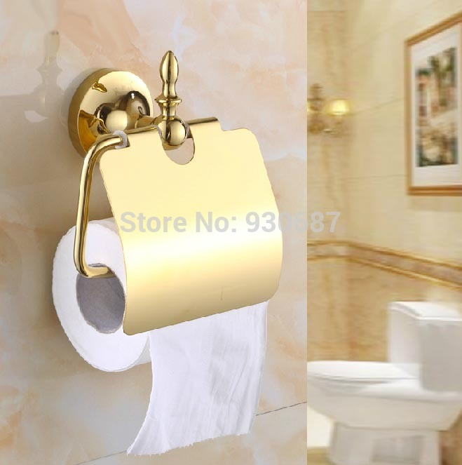 ФОТО Free Shipping Euro Bathroom Gold Plate Soild Brass Toilet Roll Paper Holder