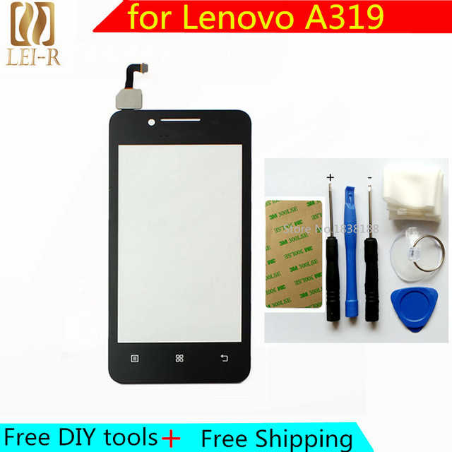 Free DIY Tools + Original New Touch Screen For Lenovo A319 Glass Capacitive sensor For Lenovo A319 Touch Screen panel Black