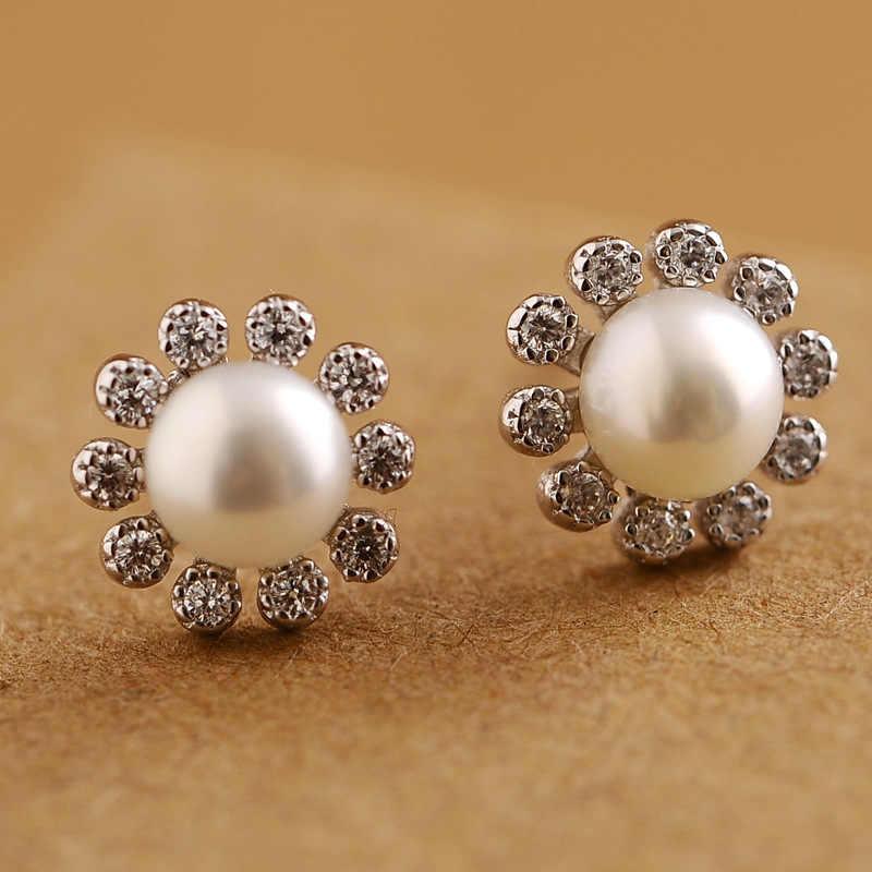 1 cm kualitas Tinggi 925 Sterling Silver Bunga Matahari perempuan Mutiara kristal, perempuan perhiasan, stud EARRINGS gadis LUCU pecinta hadiah