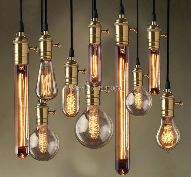 Antique Edison Pendant Light Cord Set Br Lamp Socket With 1m Textile Cable Ceiling Rose
