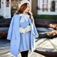 Dabuwawa Wool Coat 2016 Women S New Autumn Winter Turn Down Collar Diamond Temperament Fashion Long