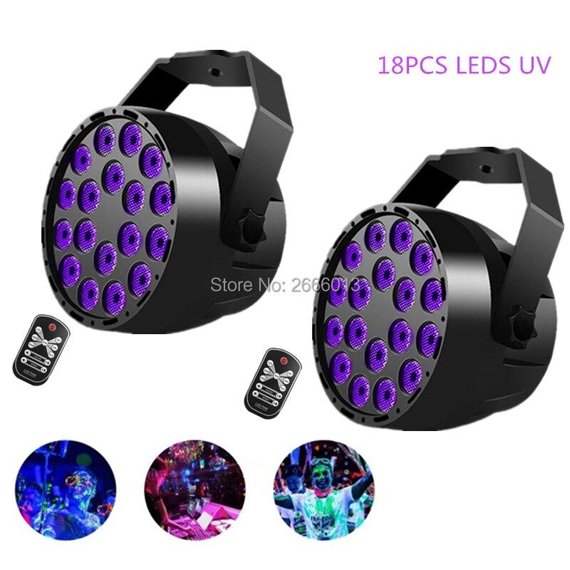 2pcs/lot IR Remote 18 LEDS UV Wireless Control LED Par Light For Club Home Party Event ,DMX512 UV Violet Effect Stage Lighting micro ir uv