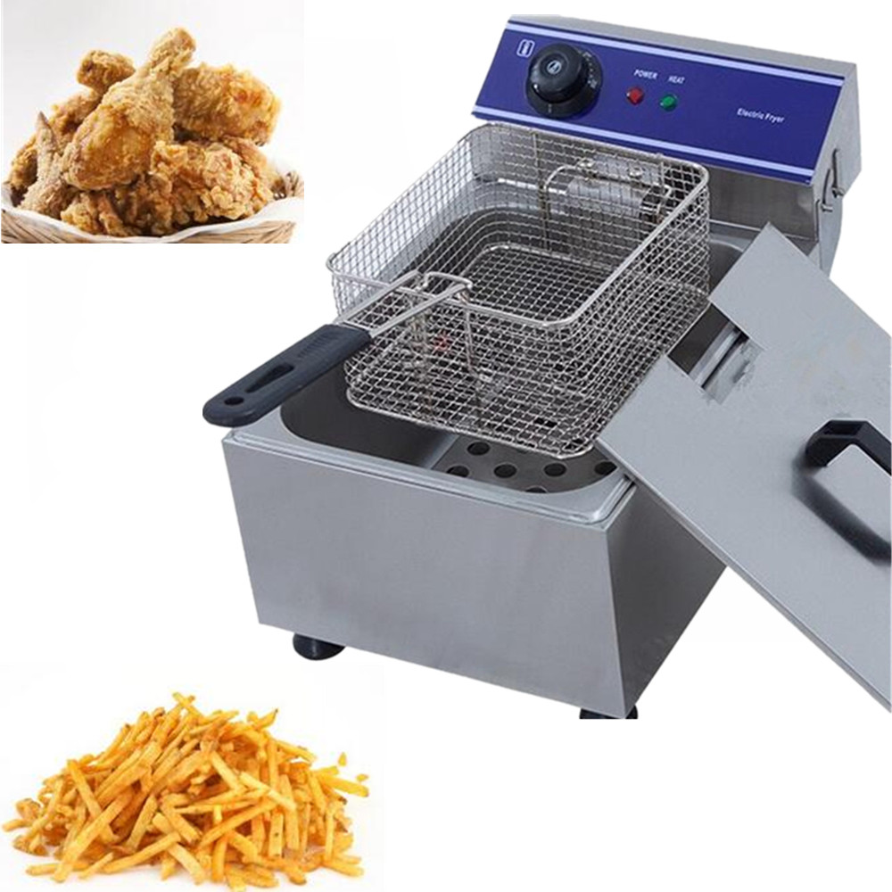 Household Commercial Mini Electric Deep Fryer Metal Grill Oven Temperature Control Chicken Potato Frying Machine