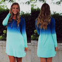 Sky Blue Summer Style 2016 Casual T Shirt Dress New Stylish O Neck Loose Gradient Color