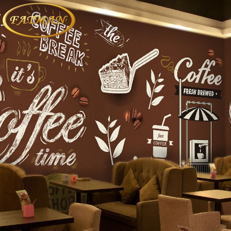 Custom 3d photo wallpaper personalized graffiti mural cafe for Cafe mural wallpaper