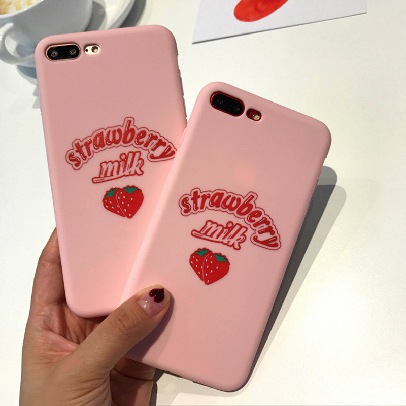 Cute Delicious Fruits soft TPU Phone Case for iPhone 7 case Sweet Strawberry Milk Back Cover for iPhone 6 6S 7 8 plus phone capa