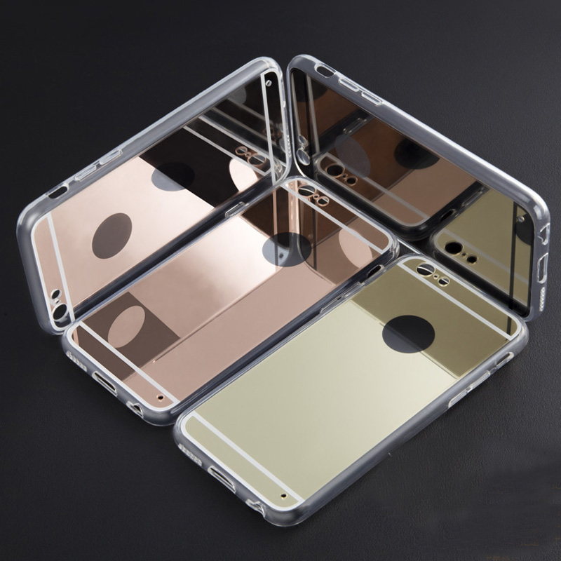 "Luxury Electroplating for Apple iPhone 6 Mirror Case TPU Clear Soft Back Cover for iPhone 6 4.7"" Phone Case CSJK1341"