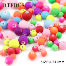 BTFBES Top Quailty Acrylic Candy Color 6 8 10mm Round ball Mix loose Beads for Jewelry Bracelet Handicrafts Making DIY Accessory
