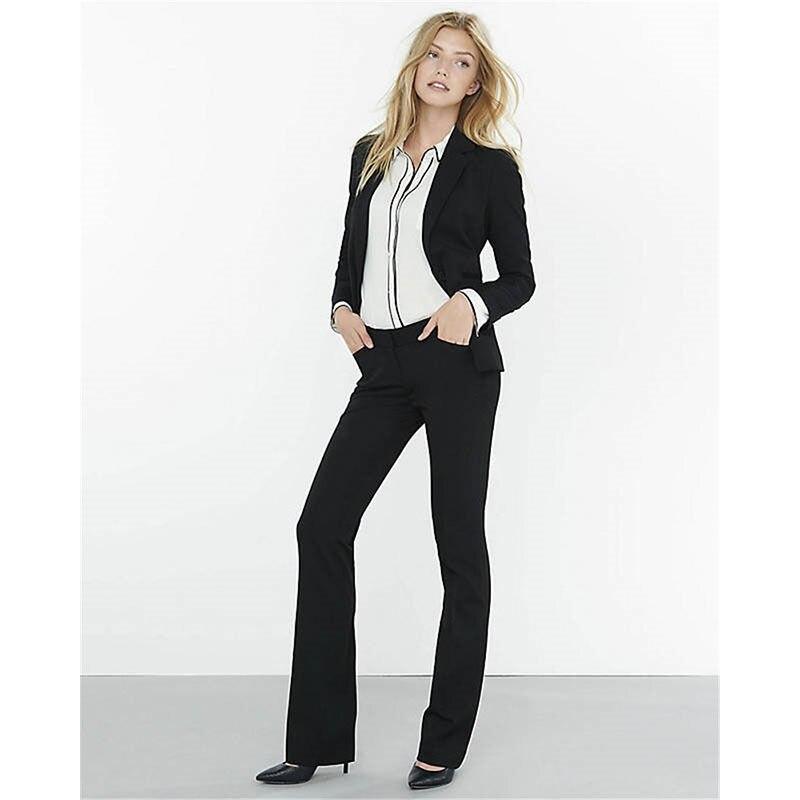 Black Slim Fit Womens Business Suits One Button Female Trouser Suits 2 Piece Set