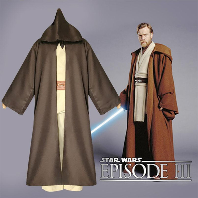 Star Wars Obi-Wan Kenobi Cosplay Costume Jedi Knight Robe Cloak Anime Set Christmas Carnival Party Halloween Costume For Men
