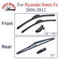 Combo de Silicona Caucho Limpiaparabrisas Delantero Y Trasero Para Hyundai Santa Fe, 2006-2012, Limpiaparabrisas Coche accesorios
