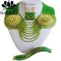 Мода африканский комплект ювелирных изделий зеленый Кристалл Нигерии Свадьба африканские бусы комплект ювелирных изделий Бесплатная доставка Majalia-189