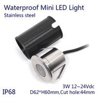5 pçs/lote DC12 ~ 24 V 3 W Lâmpada de Incandescência Mudança Da Cor CONDUZIU a Luz Subaquática IP68 Piscina de aço Inoxidável fonte de luz led