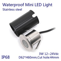 5pcs/lot DC12~24V 3W Color Changing Glowing Lamp LED Underwater Lamp IP68 Stainless steel Swimming Pool fountain led light