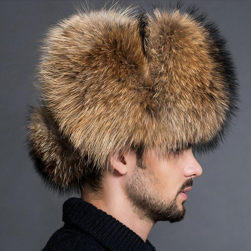 2019 BARU Warna Alami Topi Bulu Gaya Siberia Topi Bulu Rakun Topi - Aksesori pakaian - Foto 2