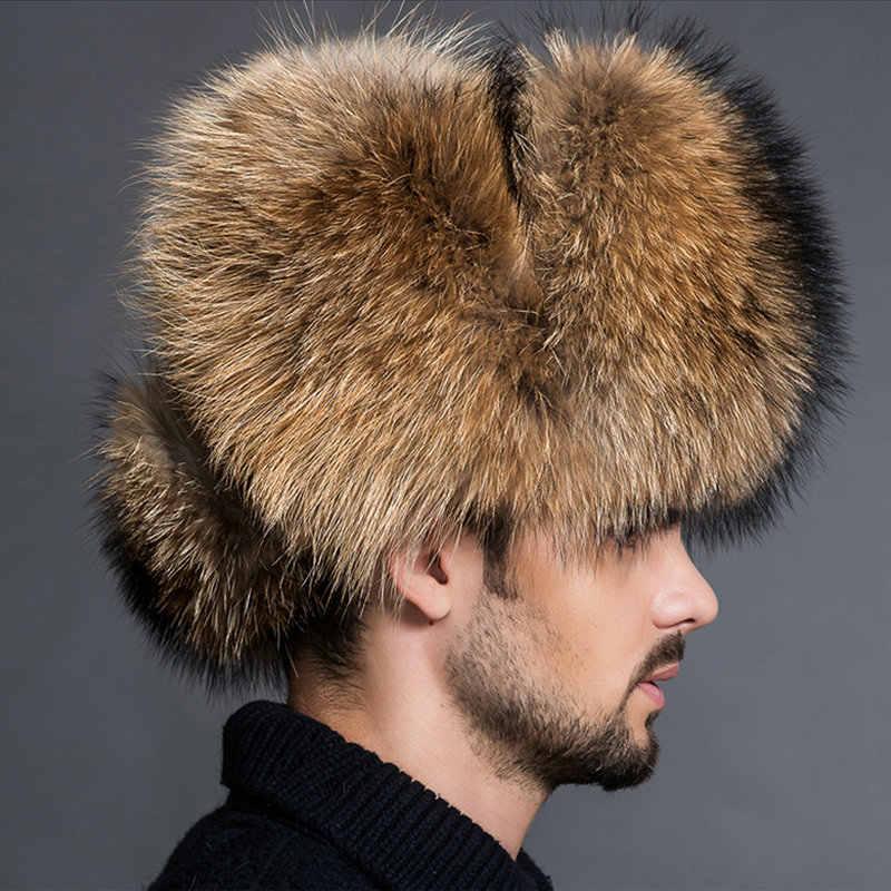 b5744ea3bbf18 ... 2019 NEW Natural Color Fur Hat Siberian Style Fur Hat Raccoon Full Ushanka  Hat for middle ...