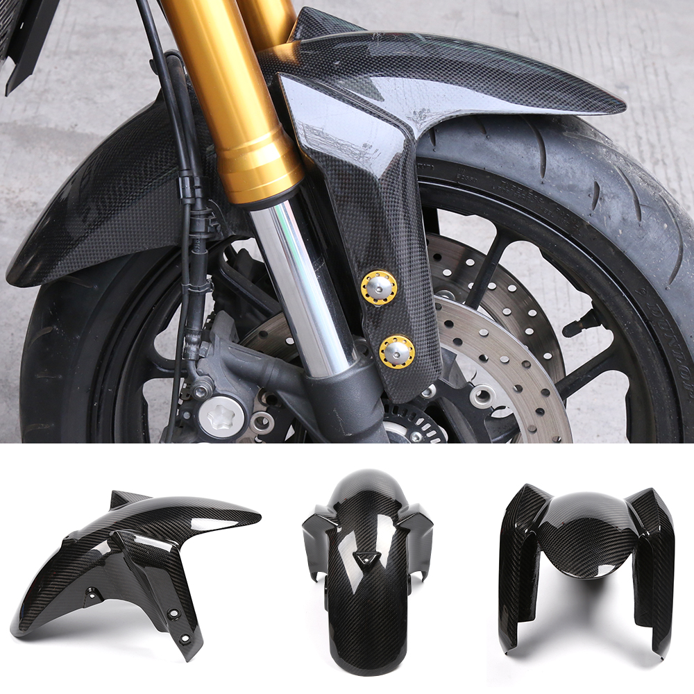 Motorcycle Carbon Fiber Front Fender Splash Mud Dust Guard Mudguard Tire Tyre Cover For Yamaha MT09 FZ09 MT-09 FZ-09 2014-2017 exterior accessories carbon fiber for infiniti q50 wheel decorative protective fender mudguard sticker cover