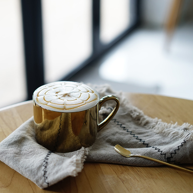 Ins gold coffee cup gold plated silver cup Bone China Tea Cups Gold Plated Mirror Effects Creative Drinkware