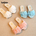 2017 New Arrivel Kids Girl Summer Shoes Children's Sandals Shoes Lace Mech Pearl Girls Slipper Flat Matching Kids Garden Shoes