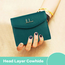 Fashion Women Short Wallet Genuine Leather Lady Cute Mini Wallets Brand Women's Purse Small Portable Female Card Holder Hot