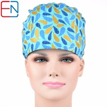 Hennar surgical caps for  women IN blue WITH flowers MEDICAL CAPS